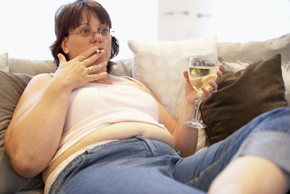 Overweight Woman Bad Habits